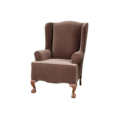(Sure Fit Stretch Pinstripe - Wing Chair Slipcover  - Chocolate (SF37386))