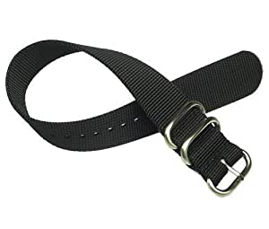 18mm Zulu 2 Ring Black Nylon Watch Strap