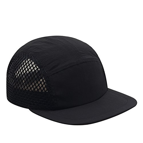 Hatphile Light Breathable Quick Dry Pocketable Large Mesh Moisture Wick 5 Panel Hat Black