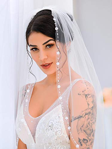 Victray Wedding Bridal Veil with Comb Flower Edge Tulle Veil for Brides 1 Tier Fingertip Length 35.4 Inches (White)