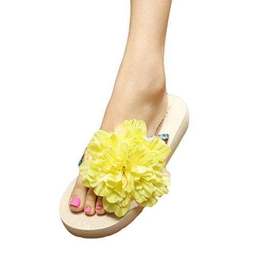 YOUJIA Mujeres Boho Flores Chanclas Verano Playa Zapatos de cuña Plataforma Zapatillas #2 Blanco Verde
