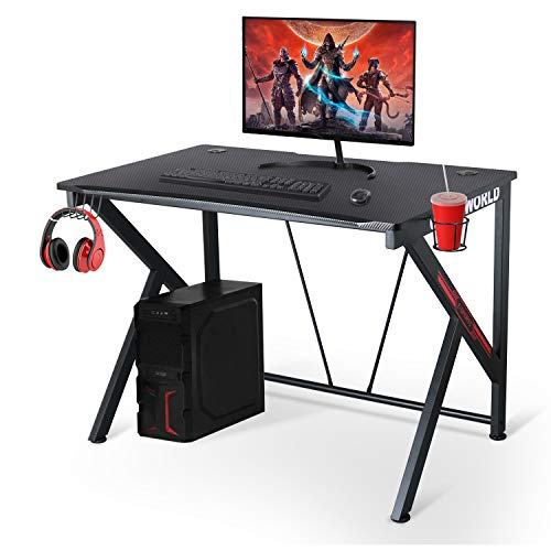 "Ergonomic Gaming Desk - 42"" K Shaped Computer Table for Home Office Gamer Workstation with Headphone Hook and Cable Management Carbon Fiber Texture Surface(Black)"