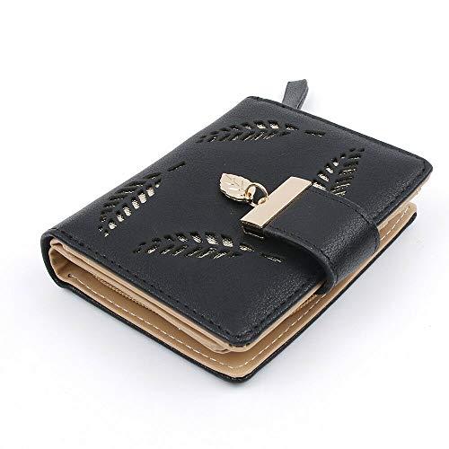 Women Fashion Leaf Bifold Wallet PU Leather Clutch Card Holder Purses Handbag (Color - Black) (Fold Bi Striped Wallet)