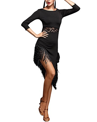 [Modern Lace Fringe Salsa Latin Tango Competition Themed Dance Bar Costume Dress] (Latin Themed Costumes)