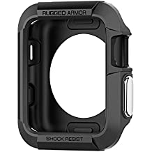Spigen Rugged Armor Apple Watch Case with Resilient Shock Absorption for 42mm Apple Watch Series 3/Series 2/1/Original (2015)/Nike+ Sport Edition - Black