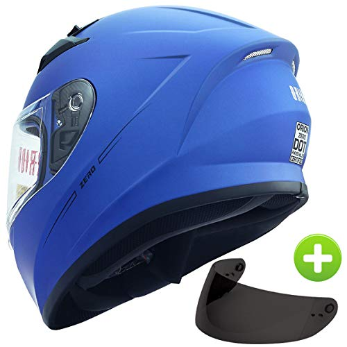 Orion Zero Full-Face Motorcycle Helmets DOT Approved + One Extra Smoked Shield (L, Blue)