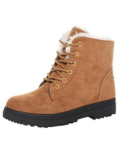 Maybest Women's Winter Lace Up Cotton Snow Boots Suede Flat Platform Sneaker Shoes Khaki 12 B (M) (Go Go Boots Australia)