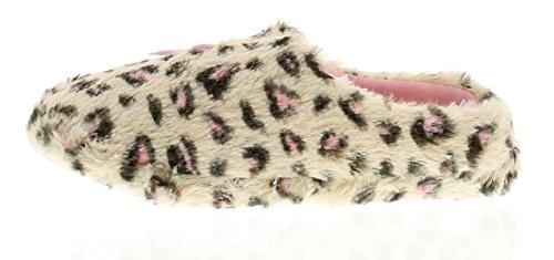 Kickers Kisses Damen Leopardenmuster Weich Maultier Kunstpelz Ober und Futter für Zusätzlichen Komfort Textil Bedeckt Sohle - Beige Leopardenmuster - UK Größen 3-8