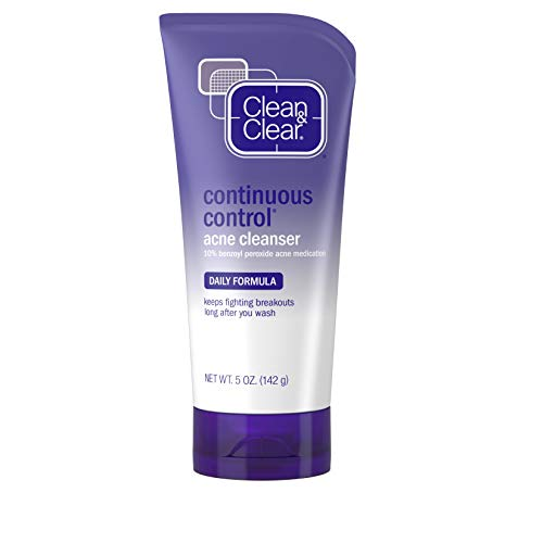 Clean & Clear Continuous Control Benzoyl Peroxide Acne Face Wash with 10% Benzoyl Peroxide Acne Treatment, Daily Facial Cleanser with Acne Medicine to Treat and Prevent Acne, For Acne-Prone Skin, 5 oz Clean Clear Continuous Control Acne Wash