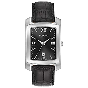 Bulova Men's Stainless Steel Analog-Quartz Watch with Leather-Crocodile Strap, Black, 20 (Model: 96B269)
