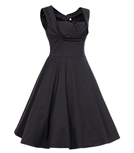 Sleeveless AU 16 Floral Piece 8 Ladies Size Dress Black One Bslingerie Retro qwOT8vE