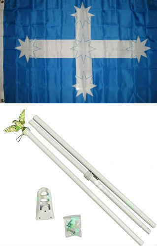 (New They can be used indoors or outdoors.3x5 Eureka Australia Flag White Pole Kit Set 3'x5'.The authentic design is based on information from official)