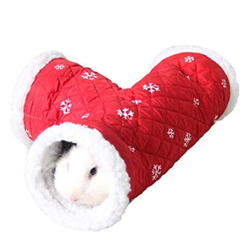 ANIAC Pet Single/T-Shape Play Tunnels Toys Warm Sleeping Bed Tube Hideout for Hamster Gerbils Hedgehogs Rats Guinea Pigs Mice Squirrels and Small Animals (T-Shape, Red) -