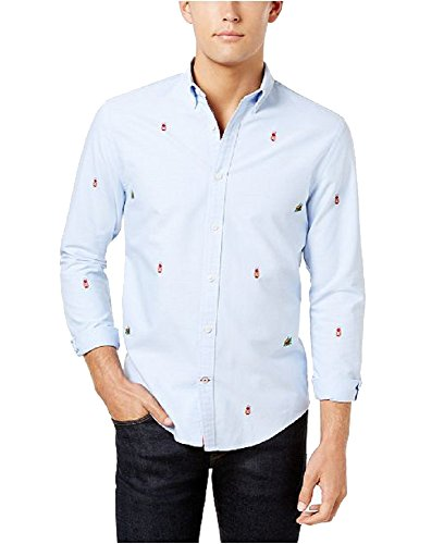 Tommy Hilfiger Men's Atherton Embroidered Camp Oxford Shirt (Multi, (Cotton Embroidered Oxford Shirt)