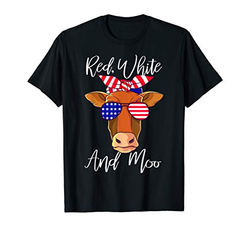 Cow Little Moo (Red White and Moo Patriotic Cow USA Flag 4th of July T-Shirt)