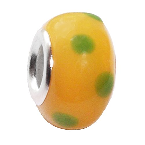 - Yellow Green Dot Pattern Murano Glass Bead for European Bracelets