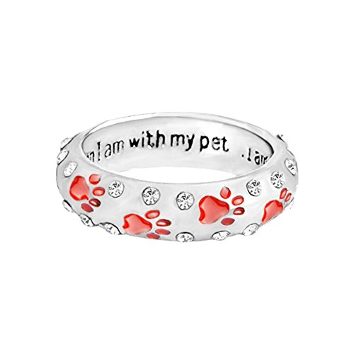 lEIsr00y Fashion Unisex Cute Pet Dog Claw Paw When I with My Pet Rhinestone Ring Gift - Red US 9 Small Shiny Rhinestones Paw Pattern Carved Letter