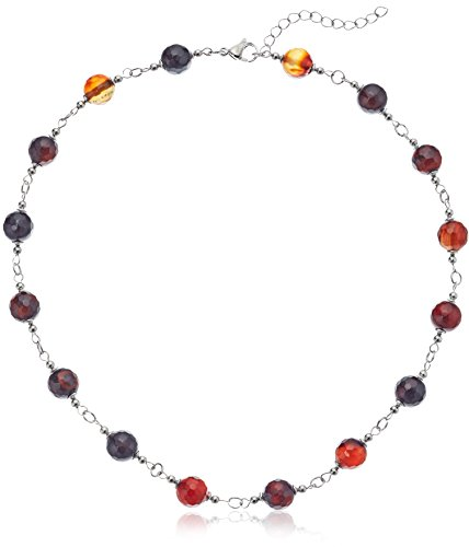 - ELYA Jewelry Womens Stainless Steel Natural Mixed Amber Agate Beaded Strand Necklace, Amber, One Size