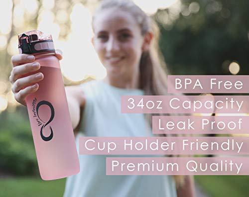 Fruit Infuser Screen /& Shaker Blending Ball Live Infinitely 34 oz BPA Free Water Bottle with Time Marker Locking Flip Top Lid /& Durable Rubberized Bottle Coating