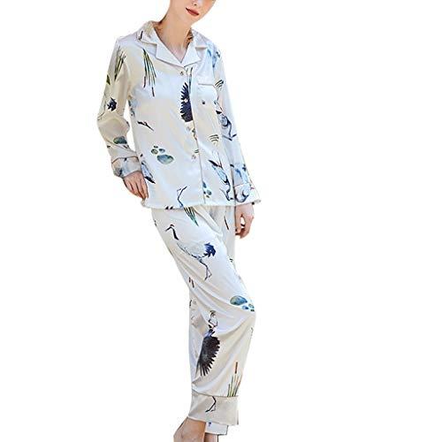 FEISI22 Womens 2 Piece Pajama Sleepwear Set Pajamas Set Sleepwear Button Down Nightwear Soft Pj Lounge Sets White (Best Tide Chart App)