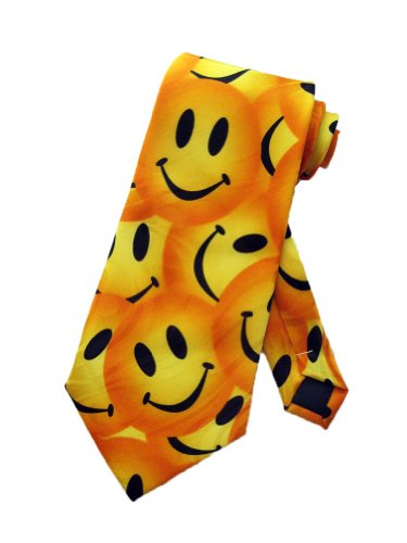 Steven Harris Mens Smiley Face Necktie - Yellow - One Size Neck Tie - Funny Microfiber Necktie Tie