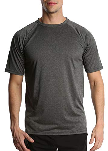 Men's Athletic T Shirt - S - Light Gray - Short Sleeve Shirt - Quick Dry Workout Gym Running