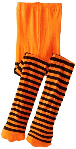 Jefferies Socks Big Girls'  Stripe Tights, Orange/Black, 6-8 Years -