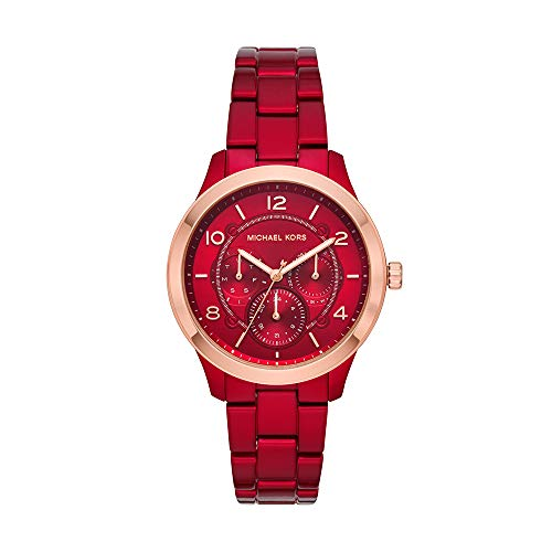 Michael Kors Women's Runway Quartz Watch with Stainless-Steel-Plated Strap, red, 18 (Model: MK6594) Crystal Red Strap Watch