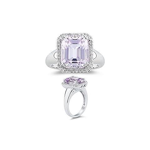 0.18 Ct Diamond & 7.50 Cts AA Kunzite Ring in 14K White Gold-8.0 (Kunzite Rings In White Gold)
