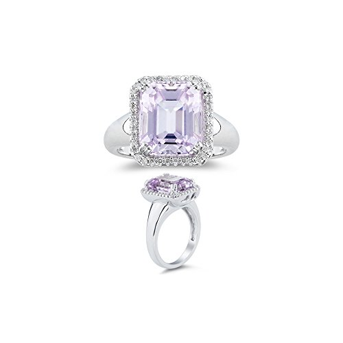 0.18 Ct Diamond & 7.50 Cts AA Kunzite Ring in 14K White (Cts Kunzite Ring)