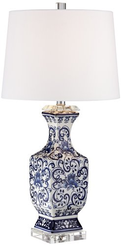 Iris Blue And White Porcelain With Crystal Table Lamp (Jar Lamp Porcelain)