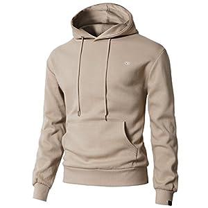 H2H Mens Casual Slim Fit Long Sleeve Color Block Hoodie V- Design line