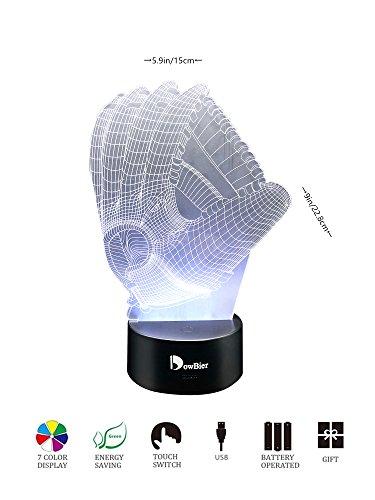 DowBier 3D Illusion Multi Colors USB Sleeping Night Light Desk Lamp Room Decoration (Baseball (Pic Baseball)