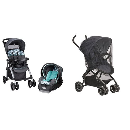Evenflo Vive Travel System with Embrace, Spearmint Spree with Stroller Insect Netting