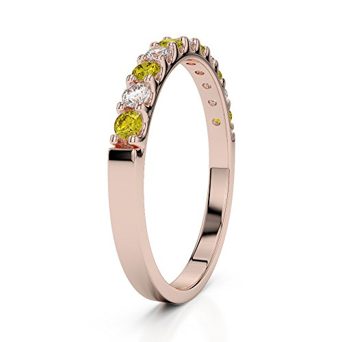 Or Rose 18carats 0,15CT G-H/VS Certifié Round Cut Saphir Jaune et diamants Agdr-1107