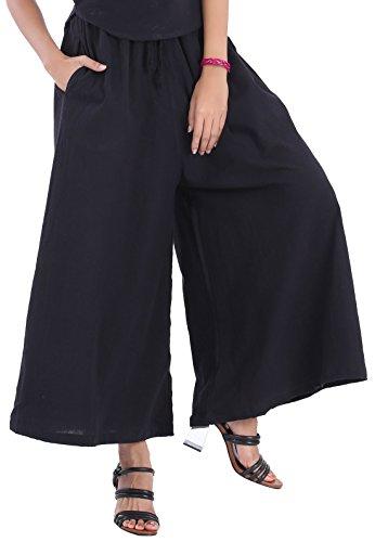 Stretch Wide Leg Crop Pants - CandyHusky Elastic Waist Wide Leg Gaucho Crop Ankle Capri Palazzo Pants for Women (One Plus Size, Black)