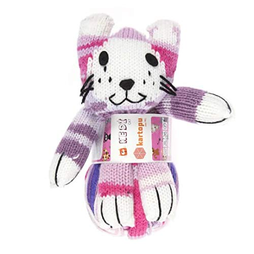 Kartopu Magic Kitty Knitting Yarn Kit, 100% Acrylic, 100 g (3.5 oz), Yarn Weight: 3 : Light-Dk, Yarn Length: 270 m (295 yd), (Purple 819)