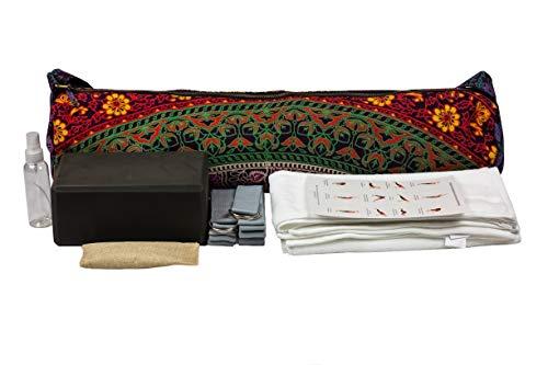 Mero Yoga Starter Set, Includes 9 Pcs- 1 Yoga Mat Bag, 2 Hand Towels, 2 Yoga Bands, 1 Spray Bottle, 1 yogablock, 1 Deodorizer Pouch and Bonus Sun Salutations Instruction Form (oldmulti)