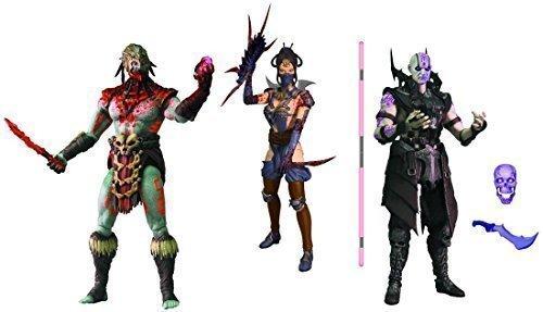 Mortal Kombat X Quan Chi Sorcerer, Kitana Mournful, Kotal Kahn Blood Version Action Figures - Previews Exclusive Set of 3]()