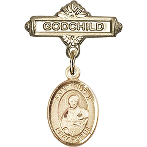 14kt Yellow Gold Baby Badge with St. Pius X Charm and Godchild Badge Pin 1 X 5/8 inches by Unknown