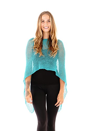 Shu-Shi Womens Sheer Poncho Shrug Lightweight Knit Tosca One Size Fits Most