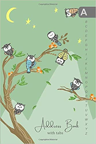 4x6 Mini Contact Notebook with Alphabetical Index Small Address Organizer Address Book with Tabs Cute Owl Tree Design Green