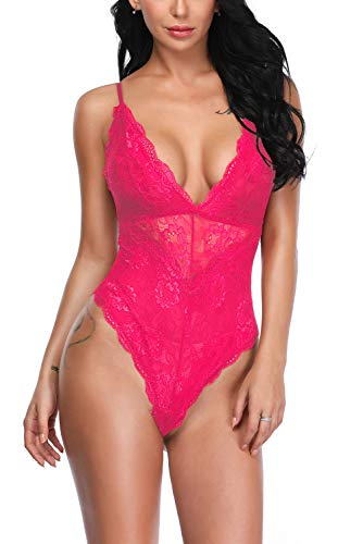 Aranmei Women Deep V Sexy Lace Bodysuit Sna-p Crotch Lingerie Teddy Underwear (Rose Red, X-Large)