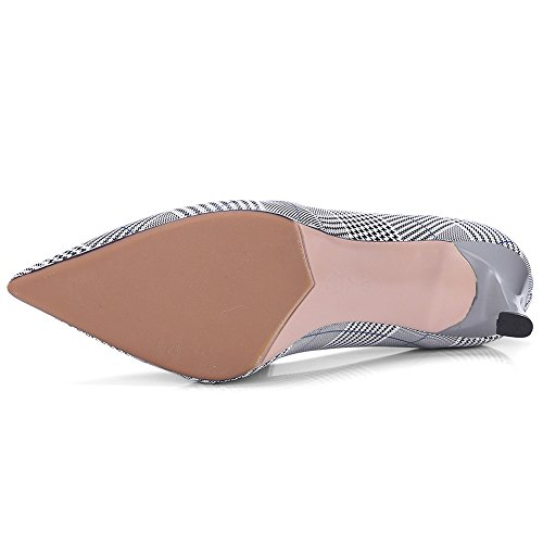 Nine Seven Genuine Leather Womens Pointy Toe Stiletto Heel Work Office Handmade Classy Pumps Shoes New Grey facTccjjP