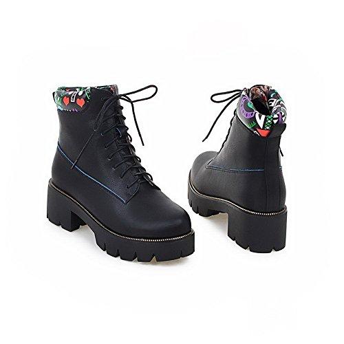 VogueZone009 Damen Gemischte Farbe Plattform Rund Zehe PU Leder Schnüren Stiefel mit Knoten Schwarz