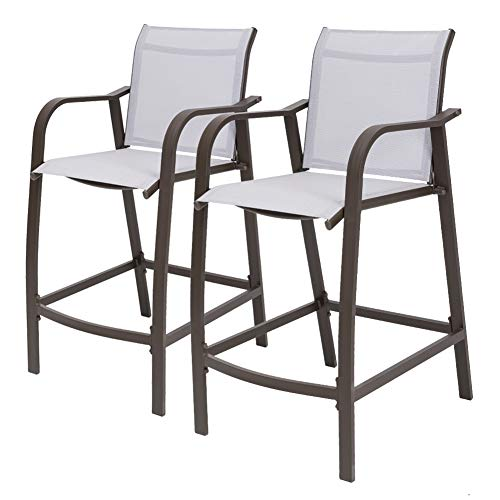 Crestlive Products Counter Height Bar Stools All Weather Patio Furniture with Heavy Duty Aluminum Frame in Antique Brown Finish for Outdoor Indoor, 2 PCS Set (Light Gray) (Bar Stools Patio)