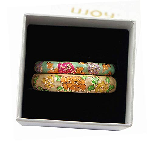 - UJOY Cloisonne Bracelets Flower Peony Enameled Cuff Hinged Bangles Gold Plated Girls Women's Gifts Jewelry 55C48 Green Yellow