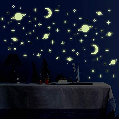 Glow in The Dark Stars Moon and Planet Wall Stickers,Kitmate 232Pcs Glowing Stars Stickers Decals for Wall and Ceiling,Perfect for Kids Bedding Room or Party Birthday Gift