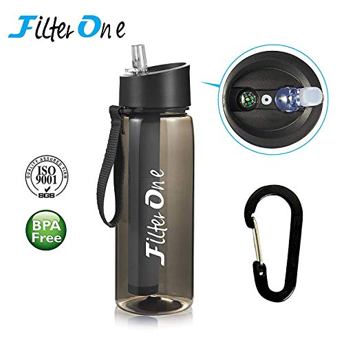 (FilterOne Personal Water Filter Bottle & Built-in Compass, BPA Free Portable 2-Stage Integrated Personal Filter Straw for Hiking Camping Survival or Emergency, Leakproof Reusable Straw (Black))