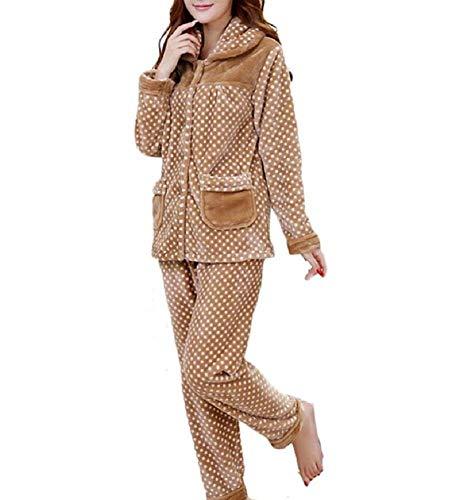 Solo Elegante Braun Pecho Moda Ropa De Invierno Lunares Larga Hogar Bolsillos Pantalones Pijama Mujer Dormir Pijamas Manga Espesar El Para Otoño Con Conjunto Un Basic wIq8S